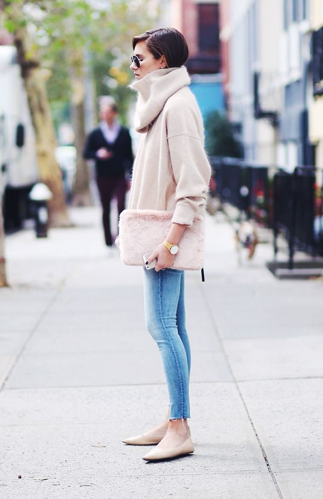 """On Danielle Bernstein: Acne sweater; Mother Denimjeans; Tabitha Simmons Ballerinas(£425). """"You only need 2% maximum elastane in a pair of skinnies. If you go beyond that..."""