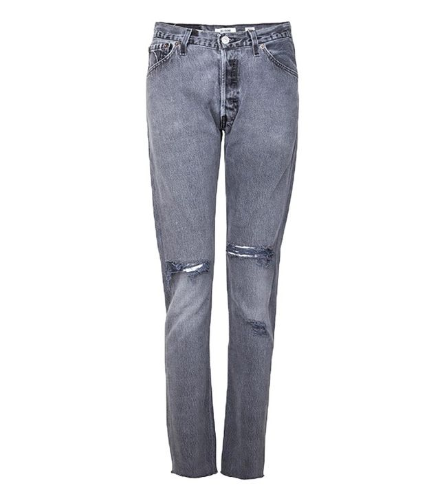 ReDone Skinny Straight Jeans in Black Distressed