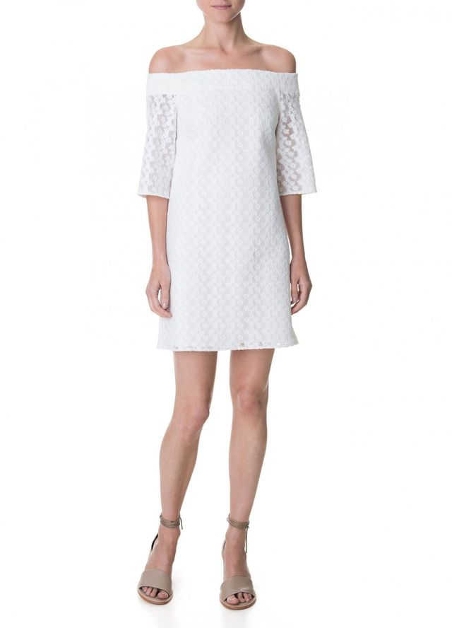 Tibi Floral Tech Off-the-Shoulder Shift Dress