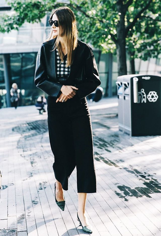 Test the waters of this shrunken trend with a leather blazer iteration paired with a longer hemline and slingback pumps.