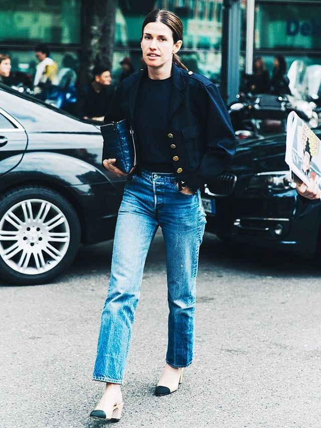 Break your military-inspired jacket out of the closet and team it with some vintage Levi's. If you have Chanel block heels (lucky!), wear those, too!