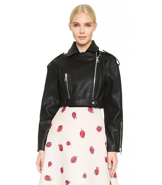 Vika Gazinskaya Faux Leather Cropped Jacket