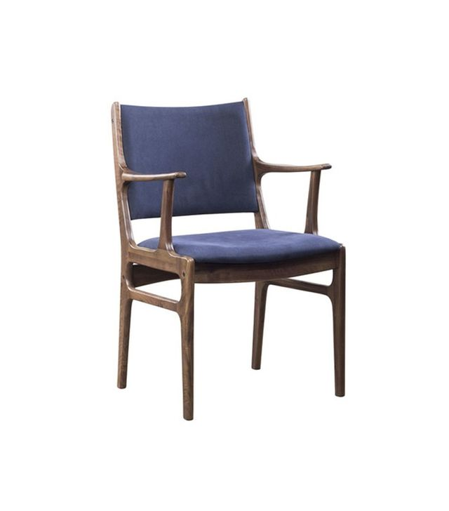 Thomas Bina Blue Canvas and Walnut Armchair