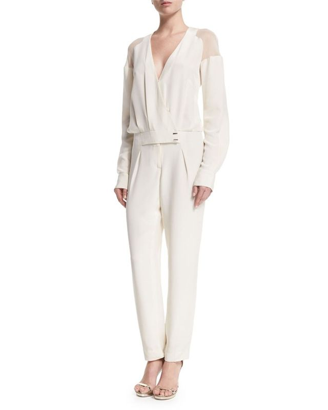 Prabal Gurung Long-Sleeve Sheer-Shoulder Jumpsuit