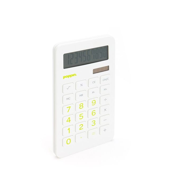 Poppin White Eco-Calculator with Lime Green Numbers