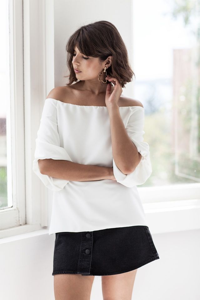 Off-The-Shoulder Top + Button Front Mini