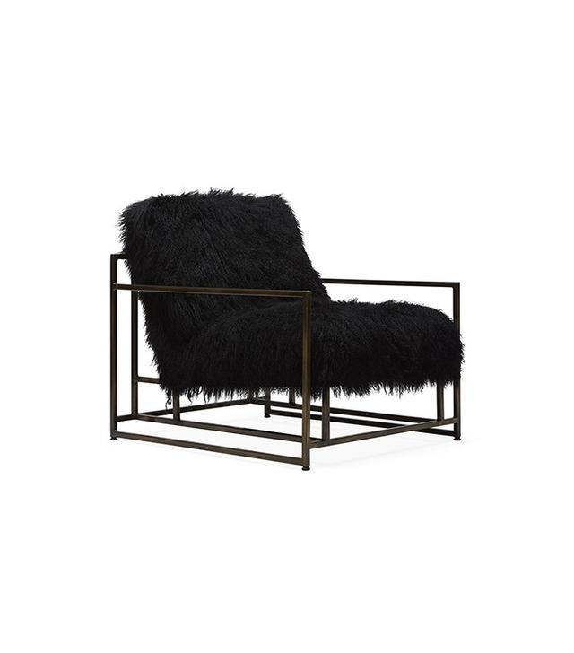 Stephen Kenn Black Sheepskin and Brass Armchair