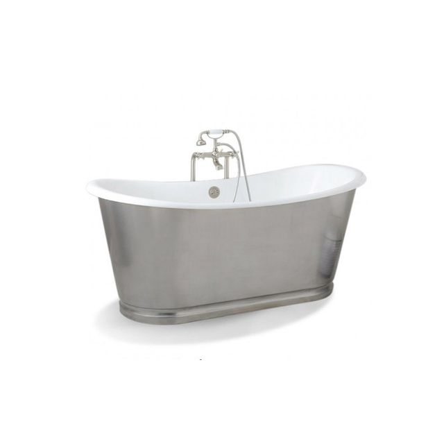 Baths Vanities Barcelona Polished 168cm Slipper Cast Iron Bath Prodigg