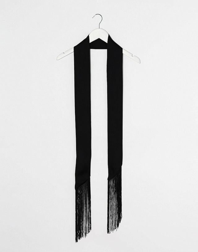 ASOS Long Skinny Scarf in Black With Fringing