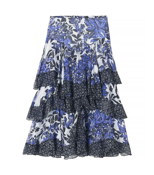 Rebecca Taylor Flame of the Forest Print Combo Skirt