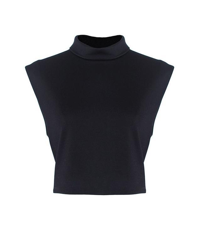 Tibi Jersey Mock Neck Sleeveless Cropped Top