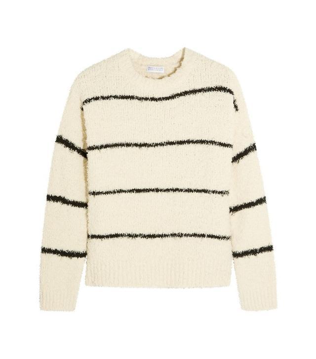 Brunello Cucinelli Striped Cotton-Blend Bouclé Sweater