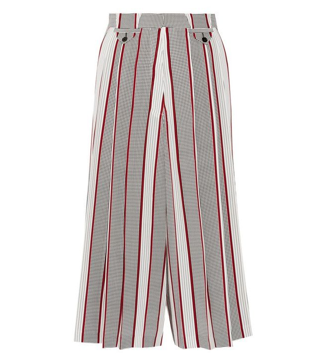 Victoria Beckham Printed Pleated Silk Culottes