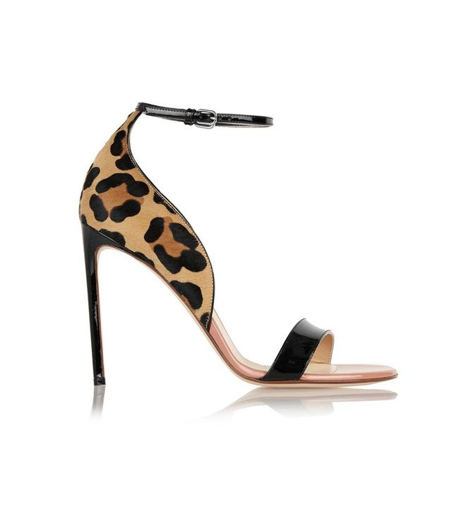 Franceso Russo Leopard-Print Calf Hair and Patent-Leather Sandals