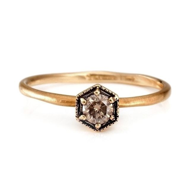 Catbird Hexagon-Cut Champagne Diamond Ring