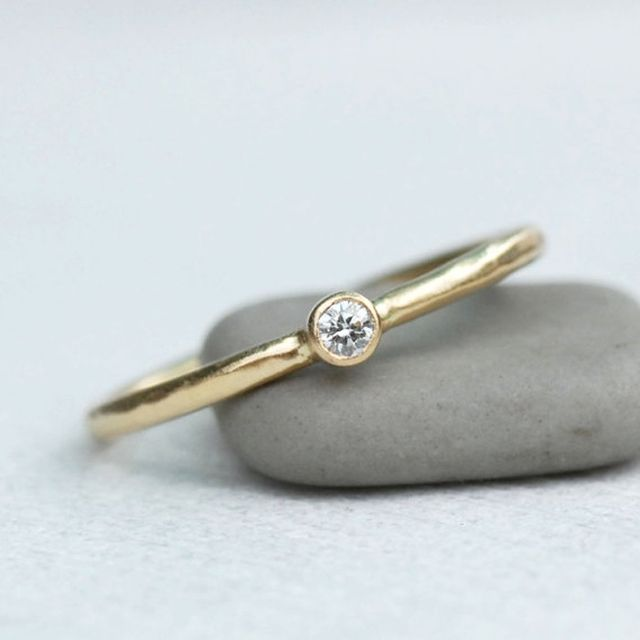 Etsy Tiny Diamond Engagement Ring