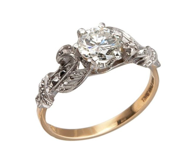 Craig Evan Small Edwardian Diamond Platinum Engagement Ring