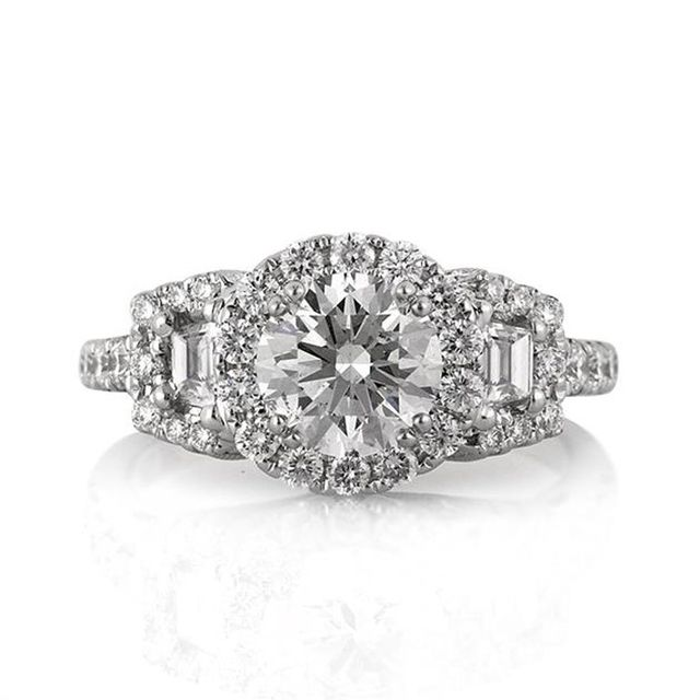 Mark Broumand Round Brilliant Cut Diamond Engagement Ring