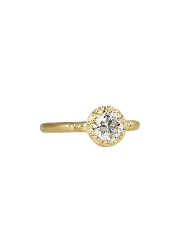 Megan Thorne Scalloped Bezel Ring With Brilliant Cut Diamond