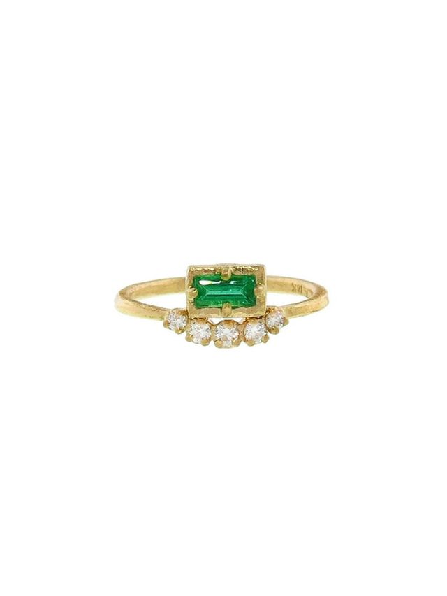 Yasuko Azuma Emerald Muguet Ring With Diamonds