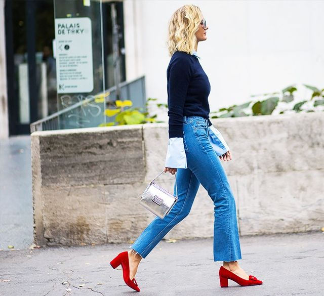 2. Thin sweater, cropped jeans, and statement accessories.