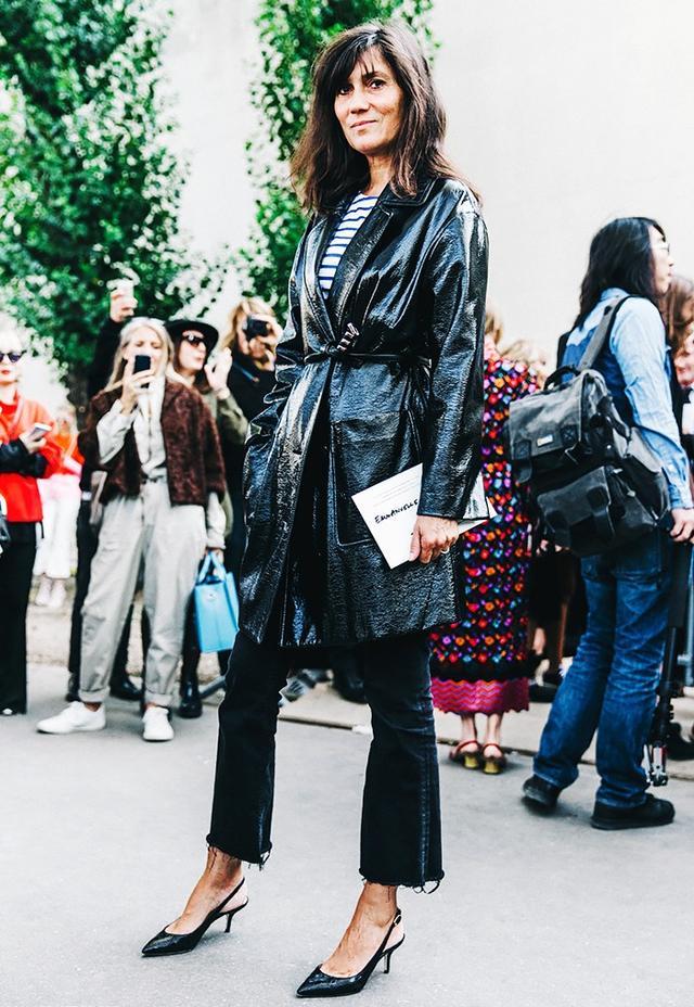 5. Belted jacket, black jeans, and kitten heels.