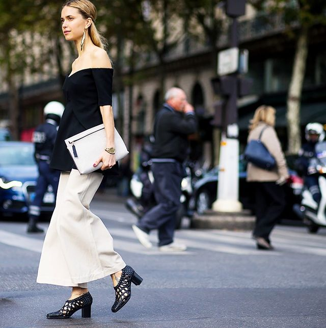 6. Off-the-shoulder top and wide-leg pants.