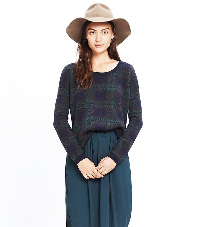 Madewell Dark Plaid Pullover Sweater