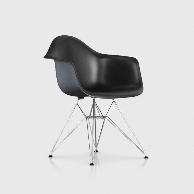 Eames Moulded Fibreglass Armchair with Eiffel Base DFAR - Black