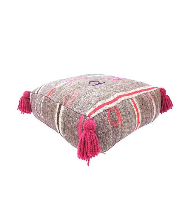 Habibi Imports Taupe & Pink Kilim Pouf