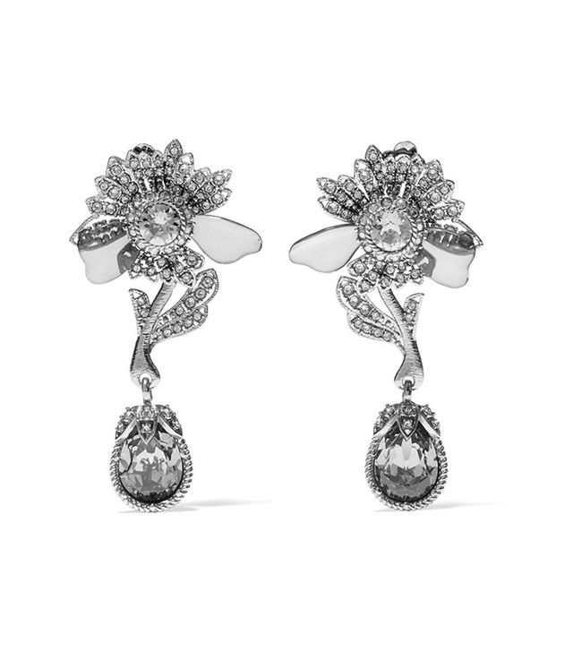Alexander McQueen Silver-Tone, Crystal and Plexiglass Clip Earrings
