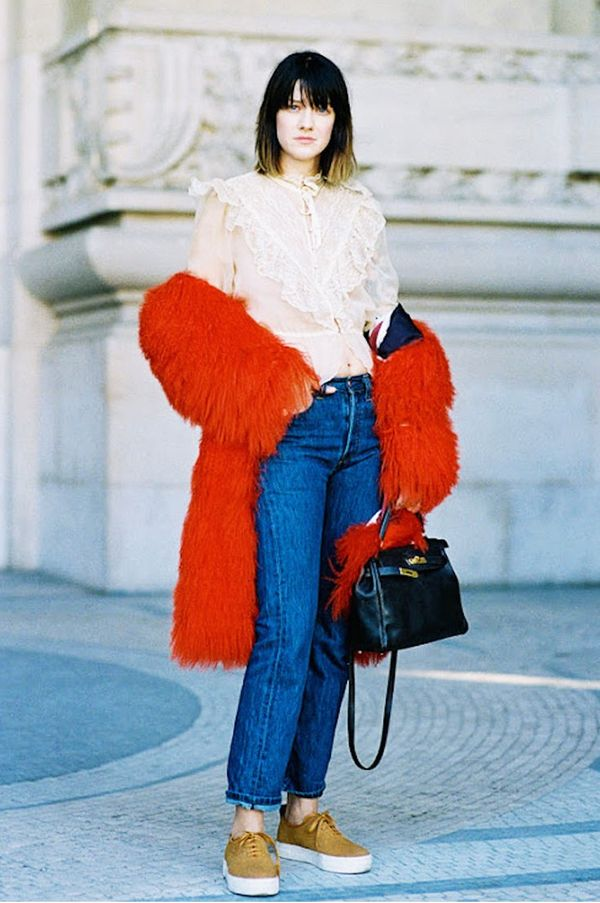 Style Notes: If things get too toasty in your Mongolian lamb's-wool coat (or you want to show off that new Victoriana-style blouse), simply shrug it off your shoulders.