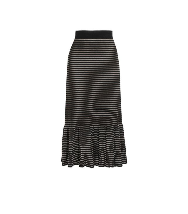 Sonia Rykiel Metallic Stripe Cotton-Blend Midi Skirt
