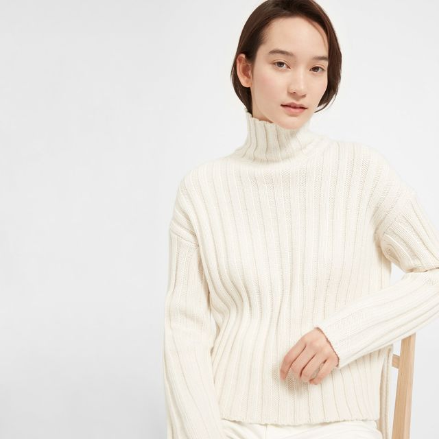 Women's Wool-Cashmere Rib Oversized Turtleneck Sweater by Everlane in White, Size M