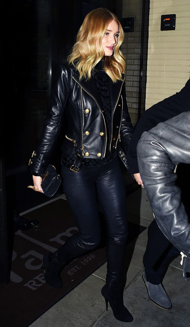 On Rosie Huntington-Whiteley:Balmain x H&M jacket; Paige leggings($199); Saint Laurent bag; Giuseppe Zanotti boots.