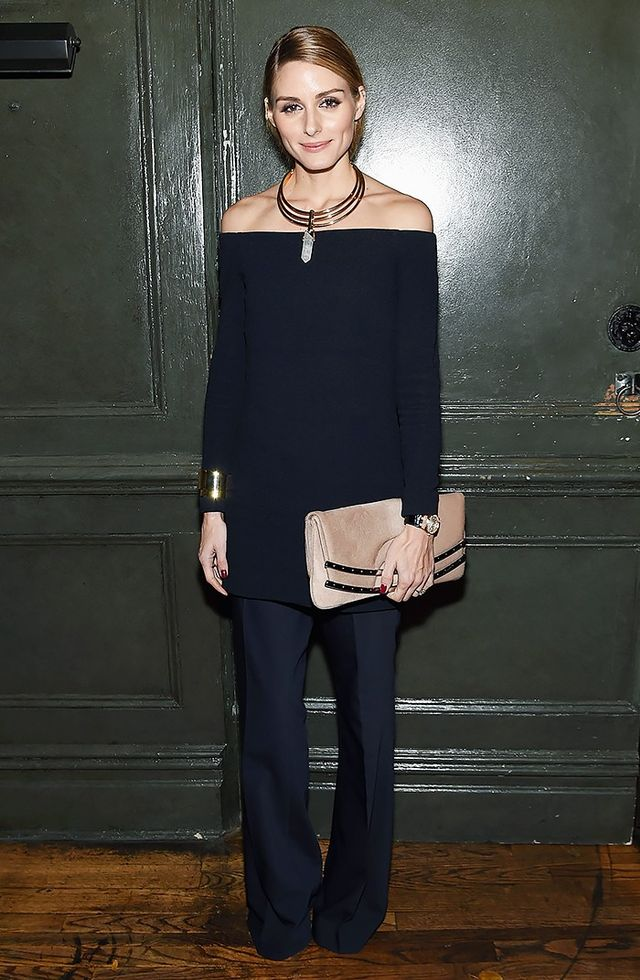 On Olivia Palermo: Tibi top pants; BaubleBar Occult necklace
