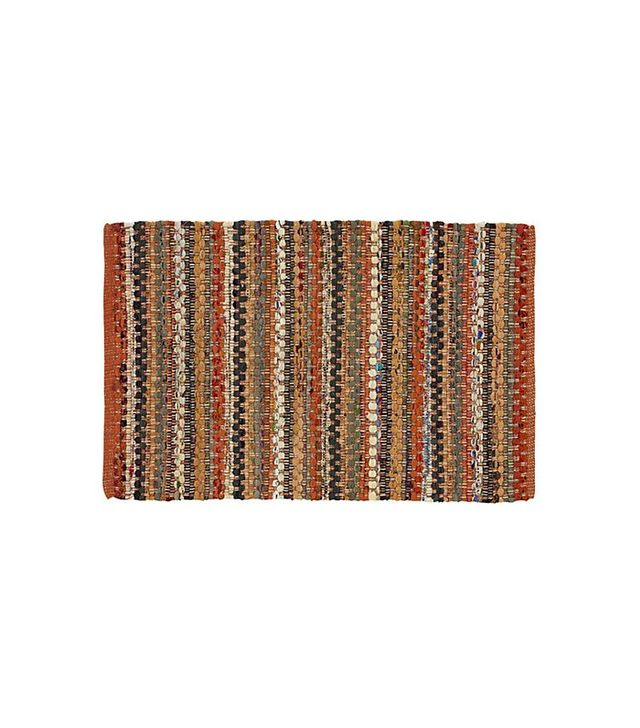 Crate & Barrel Pinstripe Orange Cotton Rag Outdoor Rug