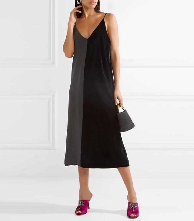Nabras Silk Crepe De Chine And Velvet Dress