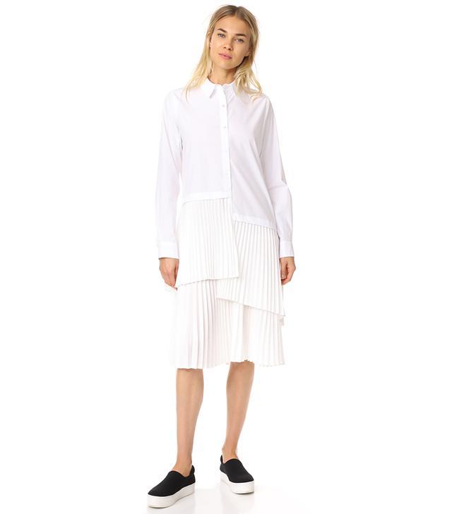 Asymmetrical Paneled Button Up Dress