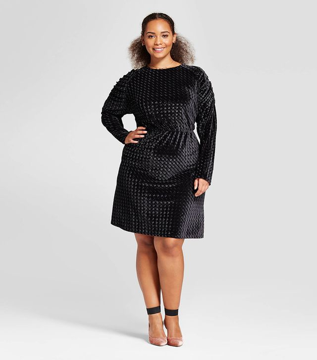 Plus Size Puff Sleeve Velvet Mini Dress