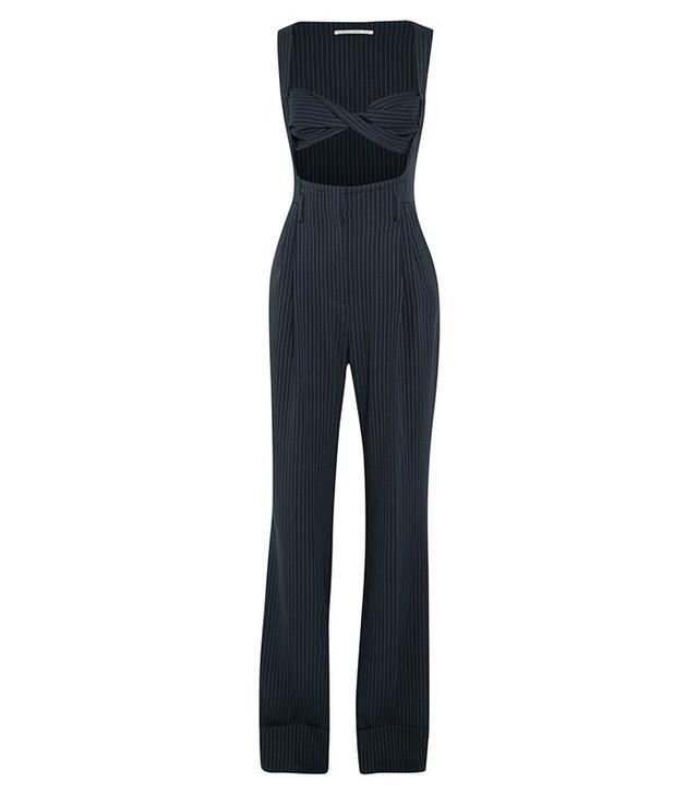 Alessandra Rich Pinstriped Silk-Blend Jumpsuit