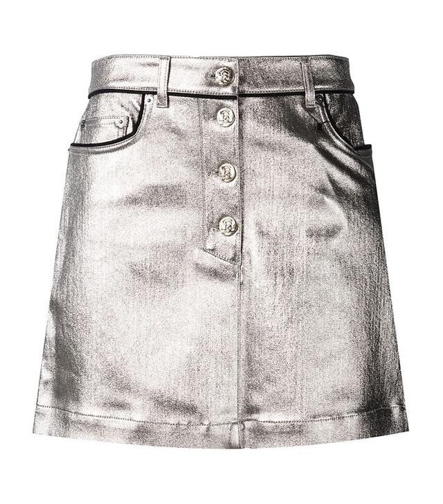 Sonia Rykiel Metallic Coated Denim Skirt
