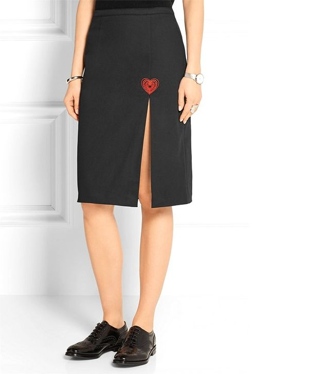 Christopher Kane Embroidered Stretch-Cotton Twill Skirt