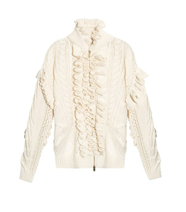 Stella McCartney Multi-Knit Broderie-Anglaise Cardigan
