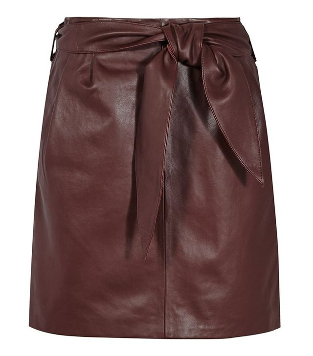 Reiss Belted Leather Mini Skirt