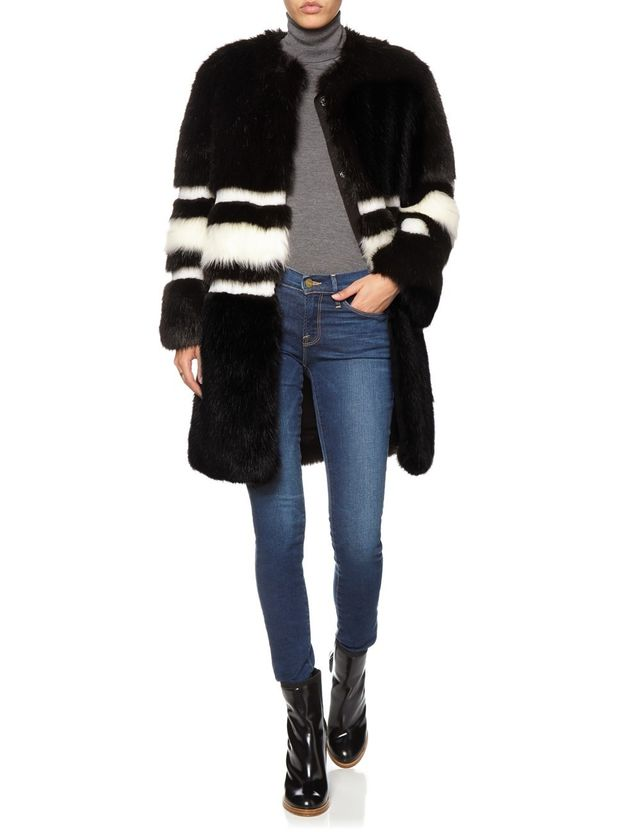 Ainea Black and White Faux Fur Coat