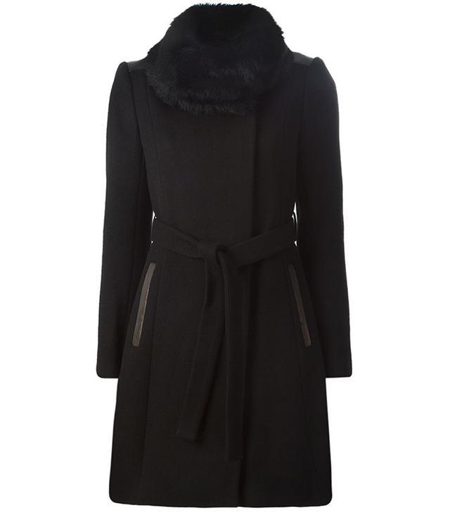 Diane von Furstenberg Trimmed Collar Double Breasted Coat