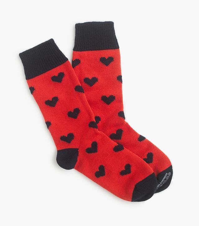 Corgi Cashmere Socks with Hearts