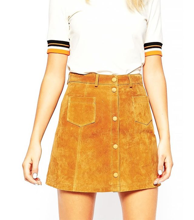 Monki A-Line 70's Suede Skirt
