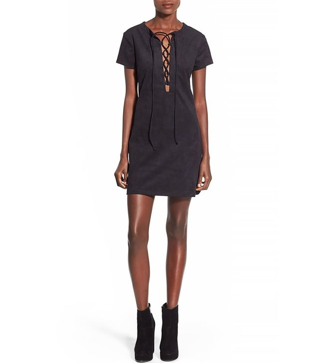 Wayf Faux Suede Lace-Up Shift Dress